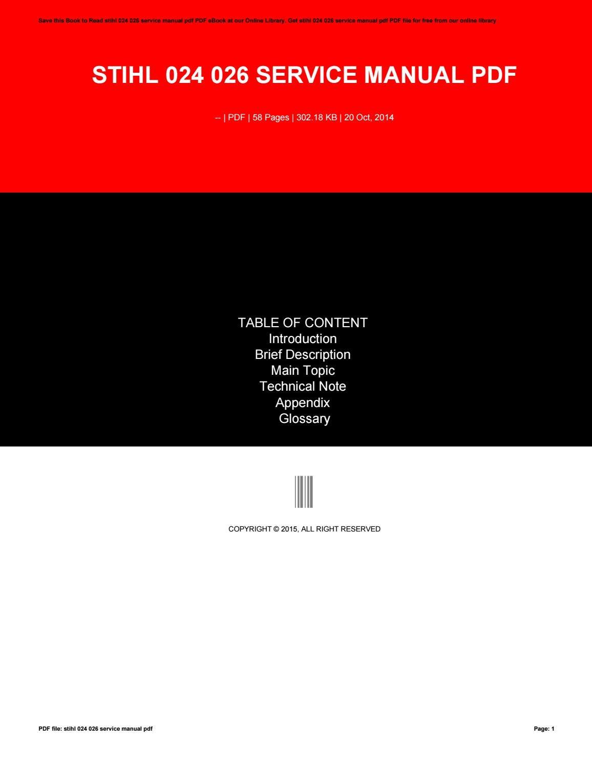 stihl 024 av service manual pdf