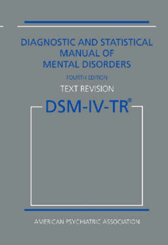 diagnostic and statistical manual of the american psychiatric association