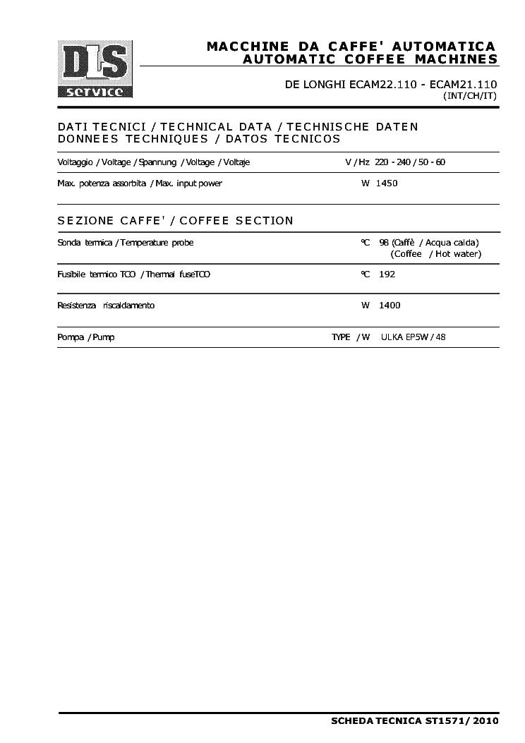 delonghi magnifica eam3500 service manual