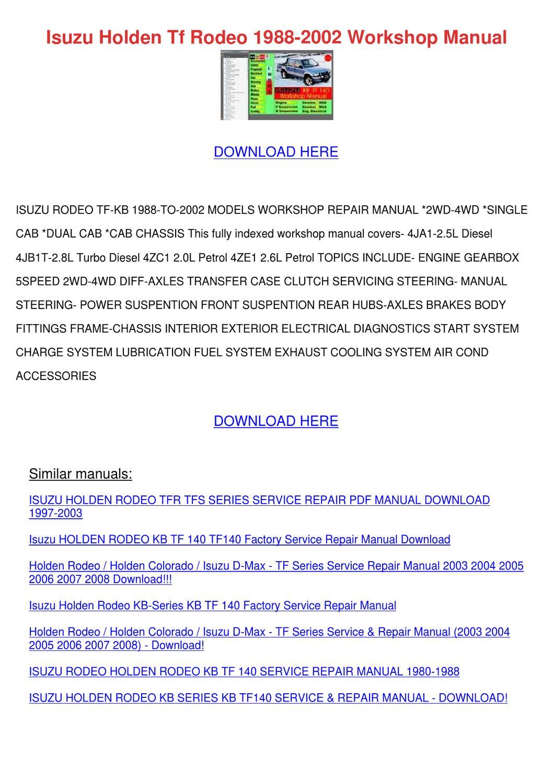 holden colorado workshop manual download