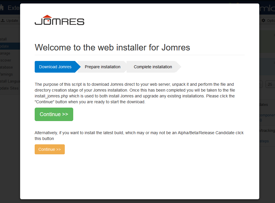 how to update joomla manually