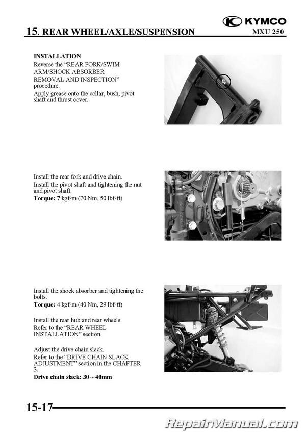 kymco mxu 250 service manual